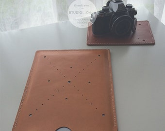 Leather Cover:  iPad Air (9.7'') Cover  (Orange) - L006 - Genuine Cow Leather