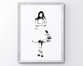 Displeased Ballerina, Ballerina Print, Dancing Art, Ballet Art, Ballet Decor, Angry Girl, Girls Room art, Wall Decor, Minimalist Art, Sad