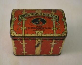 Old Tea Tin, Swee Touch Nee tea tin, small, vintage 1940's lithographed tea tin
