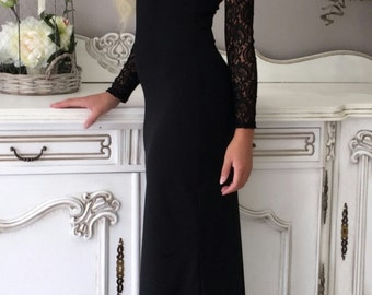 Black Maxi Long Sleeves With Lace Dress Coctail Party Evening Dress