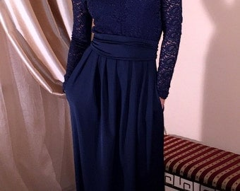 Navy Blue Maxi Dress Top Guipure Long Sleeves