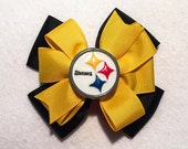 Pittsburgh Steelers Football Stacked Boutique Pinwheel Hair Bow w Center Embellishment on Partially Lined Clip - 3.75 inches  -  Black, Gold