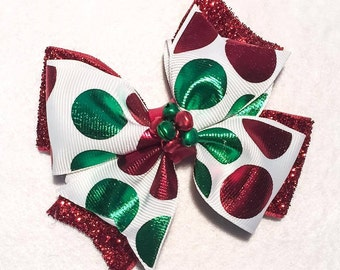 Christmas Hair Bow - 4 inch Red and Green Double Stacked Glitter & Foil Pinwheel Bow with Jingle Bell Embellishments on Partially Lined Clip