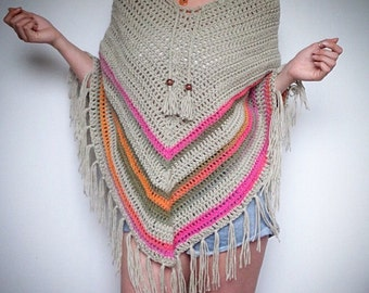 Crochet poncho. Beige with summer colours detail. Crochet top