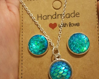 Blue mermaid scales necklace and earrings (options)