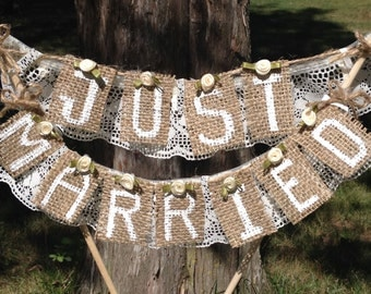 Wedding Cake Topper,Rustic,Burlap and Lace,Wedding Cake,Burlap Wedding Ideas,Rustic Wedding Decoration,Just Married wedding cake topper