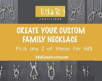 Customized silver necklace, Personalized jewelry, Mom customized jewelry, Silver customized mom necklace, Family customized mom necklace