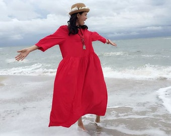 50colors on sale red loose women Cotton /Linen Dress Oversized  Women's  Dress plus size  Dress  Maternity dress casual  dress qinghome