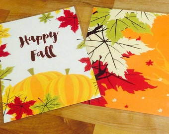 Front and Back Cover Set Happy Fall Pumpkin Leaves for use with Erin Condren or Happy Planner