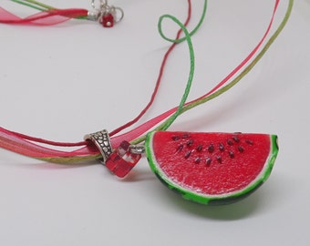 Watermelon Fruit pendant polymer clay jewelry summer necklace gift for her berry jewelry red jewelry realistic watermelon vegetarian jewelry