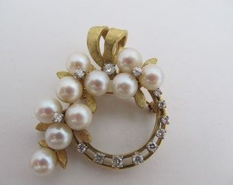 18k Gold Cultured Pearl Diamond Wreath Brooch Pin Pendant