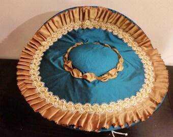 Custom 18th century women's silk taffeta covered straw bergere hat colonial rococo historic Rev war costume reenacting