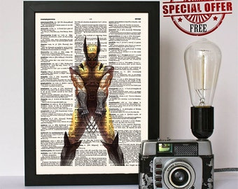 Wolverine X-Men Print- Logan- Comic Poster- Marvel Comics- Dictionary Print- Wall Decor- Buy 1 get 1 free- code 311