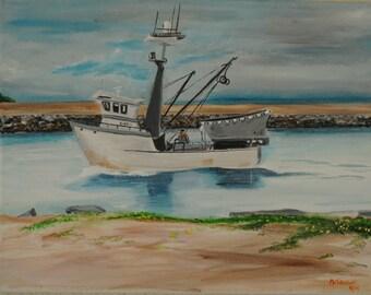 "Original acrylic painting, ""Moss Landing #2,"" 11 x 14."