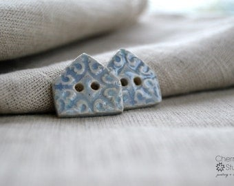 Regal Buttons, Ceramic Buttons, Ceramic House Buttons, Sew on Buttons