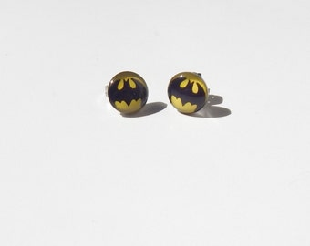 Batman Earrings, Batman Stud Earrings, Glass Dome Earrings, Superhero Earrings, Bat Earrings Bat Stud Earrings, Batman Jewelry, Batman, Stud