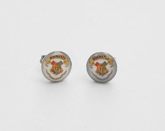 Harry Potter Earrings, Harry Potter Stud Earrings, Potter Head, Glass Dome Earrings, Hogwarts House, Harry Potter House, Deathly Hallows, HP