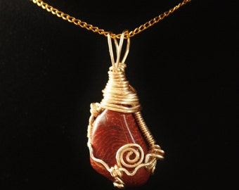 Wire-Wrapped Red Agate Necklace