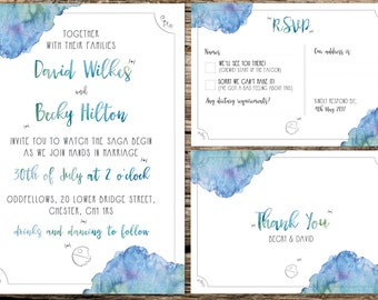 Star Wars Inspired - Wedding Stationery Pack Including, Invitation, R.S.V.P. Card and Thank You Cards.