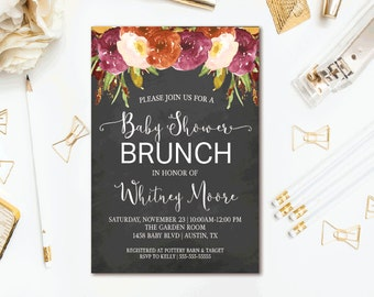 Chalkboard Baby Shower Invitation, Fall Floral Baby Brunch, Printable Invites