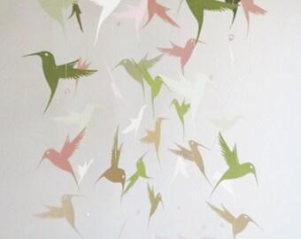 Hummingbird Mobile-home decor, custom colors, nursery mobile. pink and sage, kids, gifts, hanging mobile, bird mobile, round mobile.