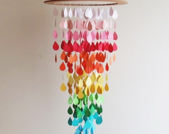 Raindrop Mobile, Colorful Mobile, Home Decor, Rain Mobile, Rainbow Mobile, Nursery Mobile, Baby Mobile, Gifts For Her.