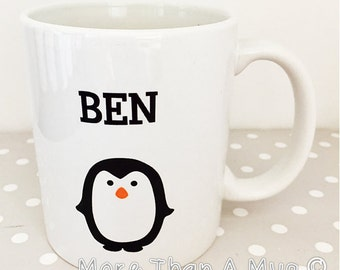 Personalised mug - add your name to our cute penguin image mug