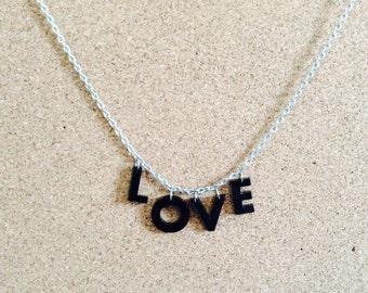 "Upcycled ""Love"" acrylic necklace"