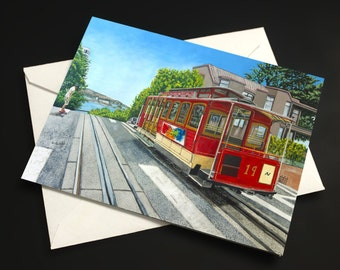 Cable Car in San Francisco Note Card - Set of 3 or 6 with envelopes