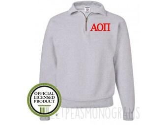 Alpha Omicron Pi Quarter Zip, Monogram Fleece Pullover, Monogram Sweatshirt, Monogram Pullover, Sorority Pullover, Big Little Gift, AOPi