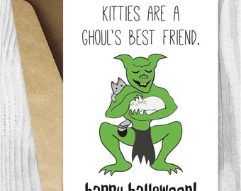 Halloween Card Printables, Kitties Are A Ghoul's Best Friend Halloween Cat Printable Cards, Funny Halloween Card Instant Download
