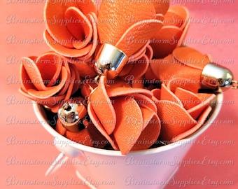 Decorative Tassels - 6 Orange Flower Tassels, Pale Gold Caps - Large Tassels - Tassel for Jewelry - Keychain Tassels - Rose Tassel - TD-1G13