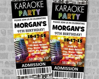 Karaoke Birthday Party Ticket Invitation, Custom Karaoke Party Ticket Invites, Digital Or Printed