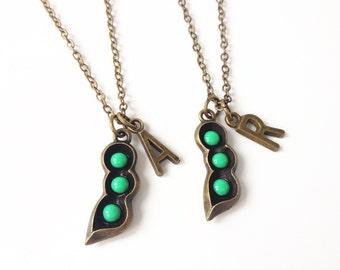 peapod necklace, set of 2, pea pod necklace, peas in a pod necklace, peas in a pod jewelry,sister necklace for 2,sister necklace set,bff
