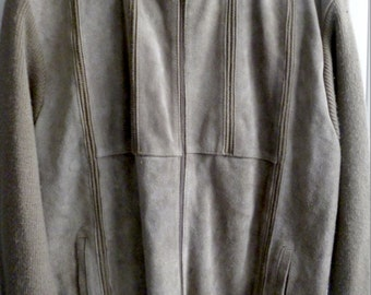MENS Vintage Suede Casual Funnel Neck Zip-Up Jacket. Size XL