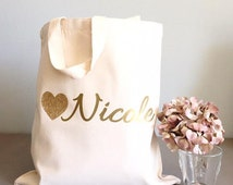 Custom tote bags- Tote bags- Glitter Heart tote bags- Bridal party tote bag- Bridesmaid thank you gift