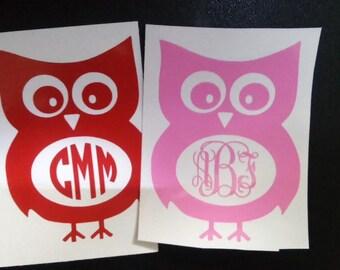Owl Monogram Decal, Monogram Car Decal, Monogram Wall Decal, Owl Laptop Sticker, Monogrammed Gifts , yeti