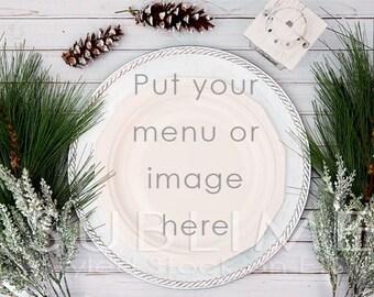 Styled Stock Photography / Plates / Mock up / Menu  / Christmas Menu / Place Setting / Table Setting / JPEG Digital Image / StockStyle-566