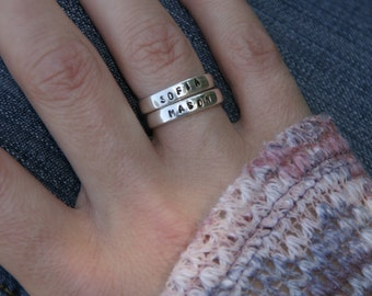 Sterling Silver Hand Stamped Stacking Rings, Custom Stacking Rings, Personalized Name Rings, Silver Mothers Rings, Anniversary Ring, Classic