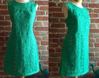 Vintage Womens Green Crochet Day Dress, Size 10, Sleeveless