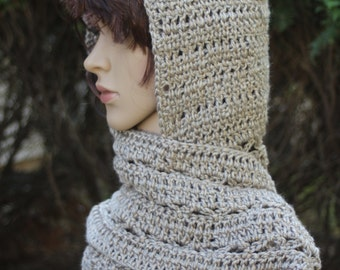 Crochet hooded scarf - READY TO SHIP, Scarf, Hooded scarf, Scoodie