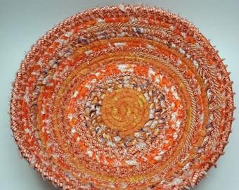Orange coiled fabric basket / clothesline basket / upcycled fabric bowl