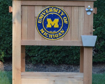 SPECIAL EDITION!!! Michigan Rustic Ice Chest Cooler Stand with Brass Drain, Bottle Opener, and MICHIGAN Bottle Cap Catcher & Michigan Sign