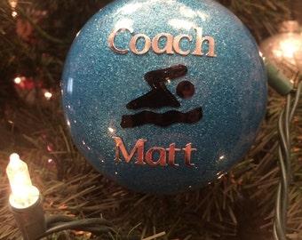 Swimmer Ornament - Swimmer Glitter Ornament - Personalized Swimmer Ornament - Swimmer Gift - Swim Coach Gift - Swim Team Gift - Personalized
