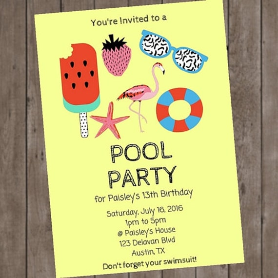 Retro Flamingo Pool Party Birthday Invitation