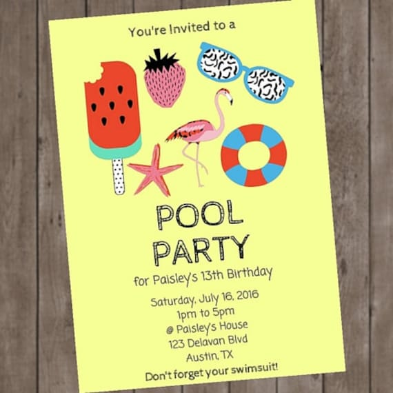 Retro Flamingo Pool Party Birthday Invitation