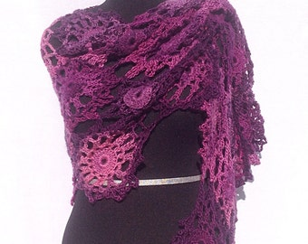 Flower Shawl or Scarf in Shades of Purple