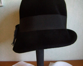 Hat Black felt, Vintage country French, 1950