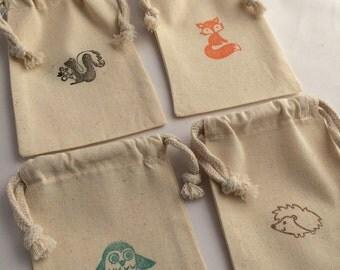 Woodland Favor Bag: Woodland Theme Drawstring Muslin Bags, Fox Party Bag, Owl Party Bag, Woodland Party Supplies