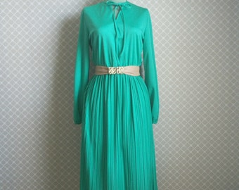 Vintage Accordian Pleated Dress - 70's Bright Green Secretary Dress - Size M/L